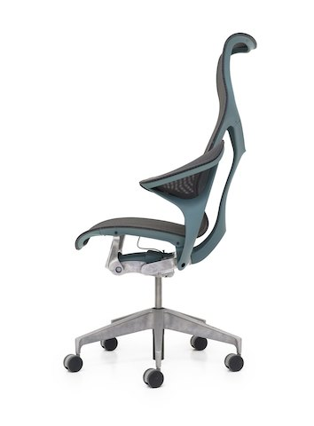 A profile view of a Cosm high-back ergonomic desk chair with leaf arms.