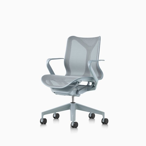 A low-back Cosm ergonomic desk chair with fixed arms and Glacier light blue frame and suspension material.