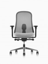 Black and grey Lino Chair with adjustable sacral lumbar support, viewed from the front.