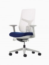 A Verus Chair with a white Triflex back, blue seat and mineral frame viewed at an angle.